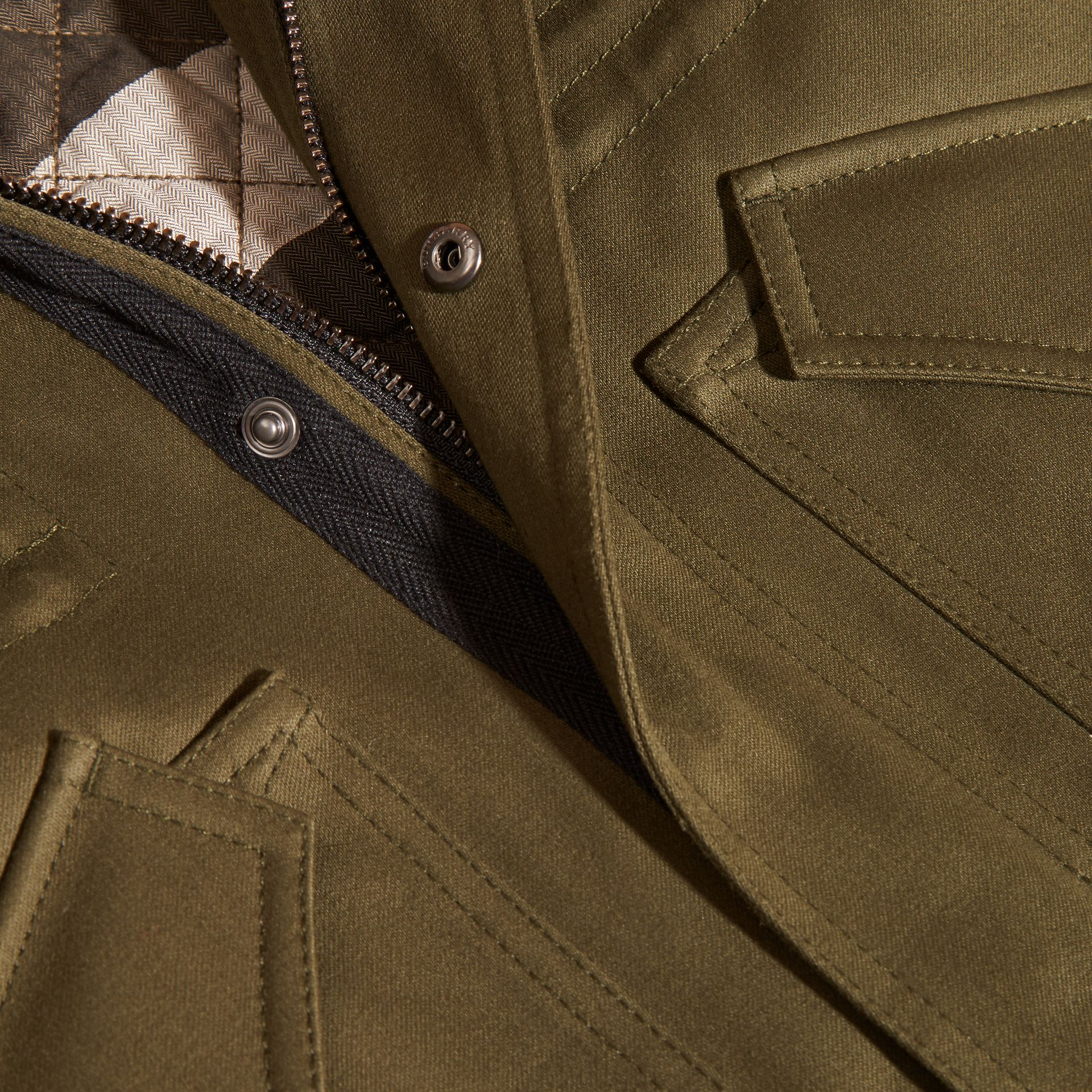 Olive green Fur-trimmed Cotton Sateen Parka - gallery image 2
