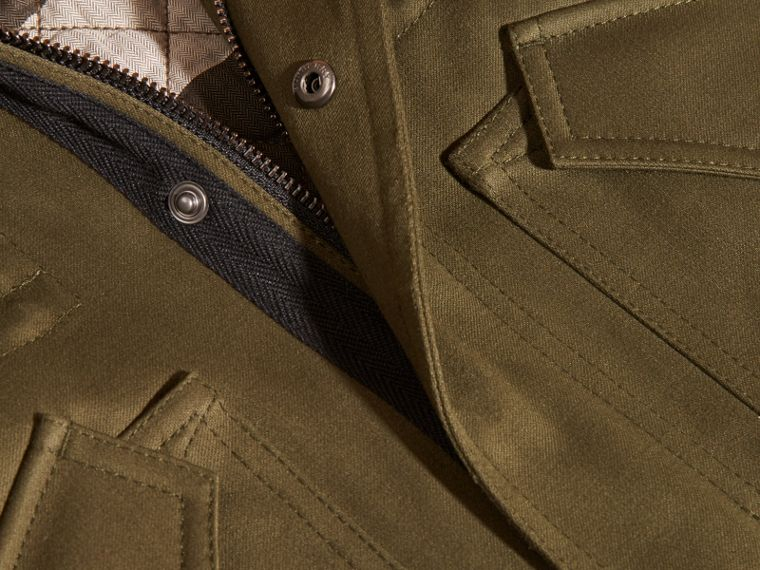 Olive green Fur-trimmed Cotton Sateen Parka - cell image 1