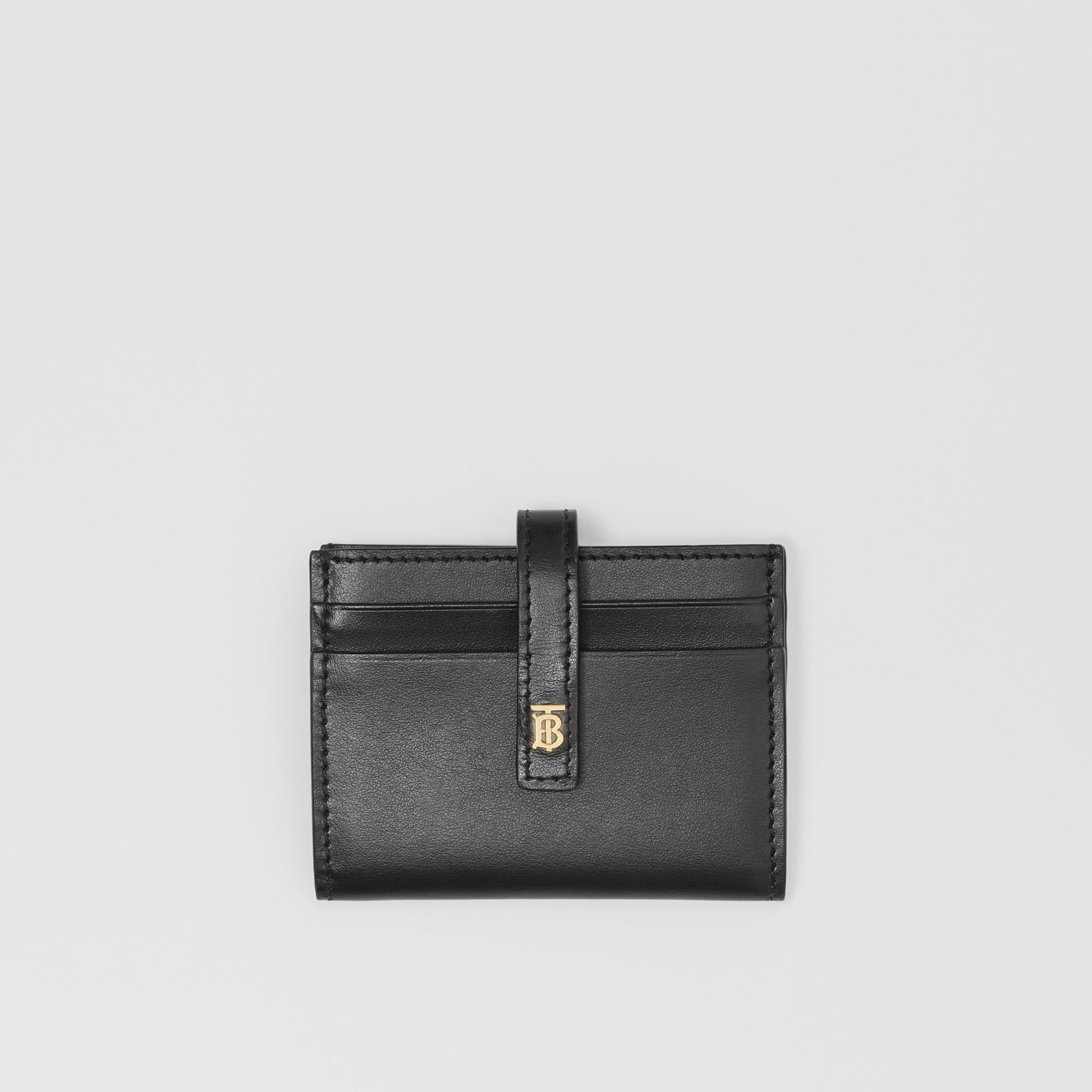 Monogram Motif Leather Folding Card Case in Black - Women | Burberry - gallery image 0