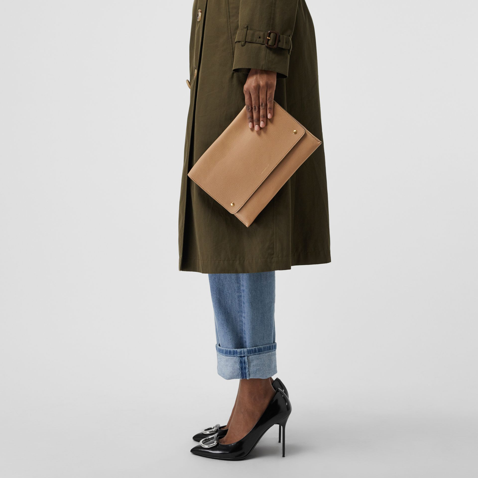 Leather Envelope Crossbody Bag in Light Camel - Women | Burberry United States - gallery image 3