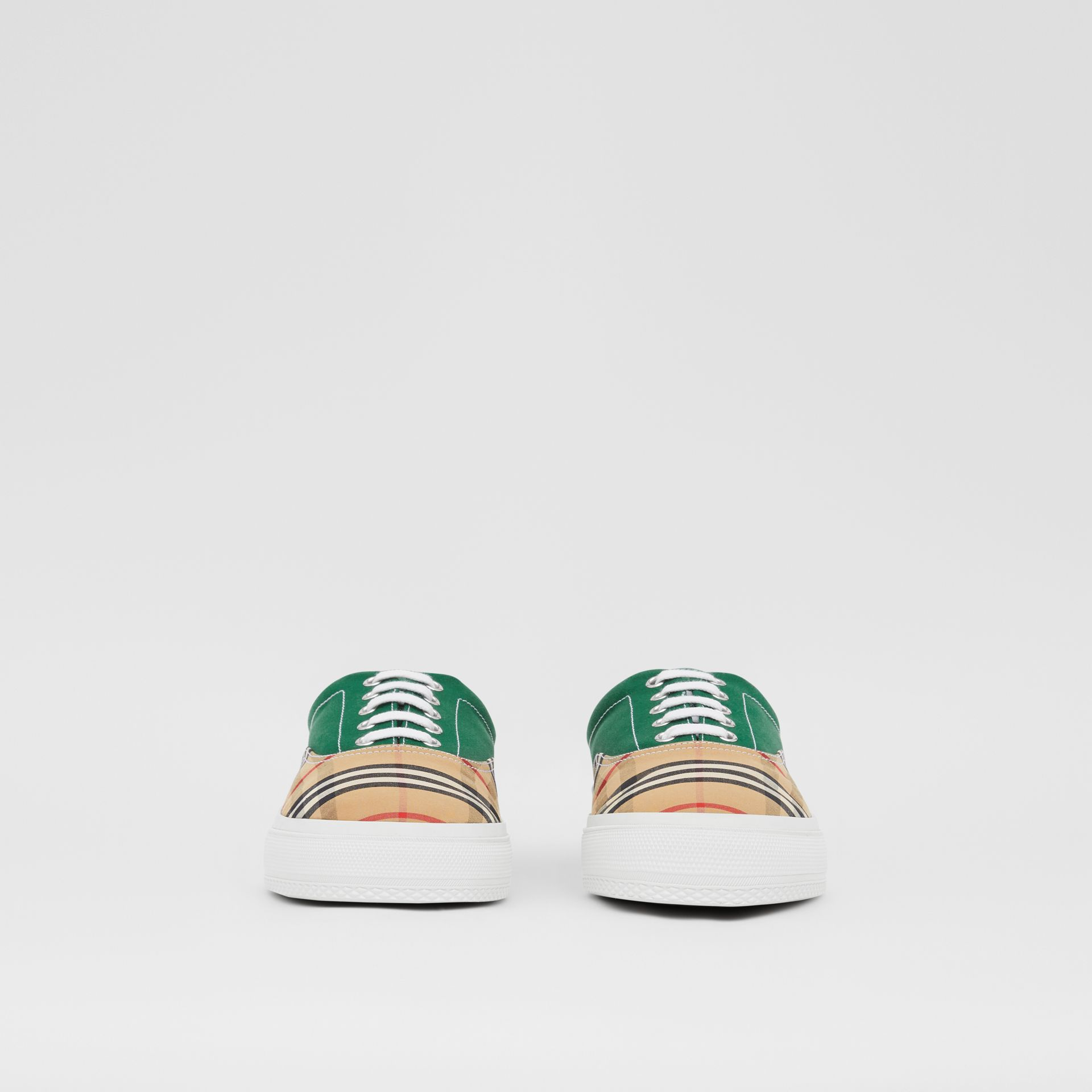 Vintage Check, Cotton Canvas and Suede Sneakers in Archive Beige/green - Men | Burberry - gallery image 2