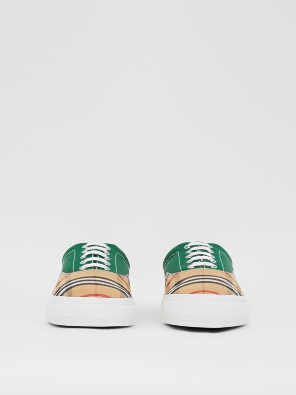 Vintage Check, Cotton Canvas and Suede Sneakers in Archive Beige/green - Men | Burberry - cell image 2