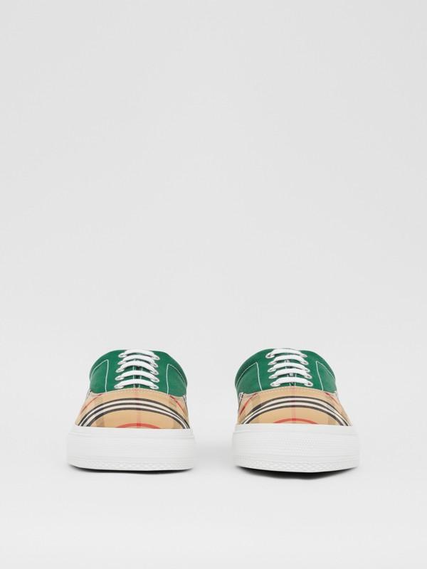 Sneakers en tissu Vintage check, toile de coton et cuir velours (Beige D'archive/vert) - Homme | Burberry - cell image 2