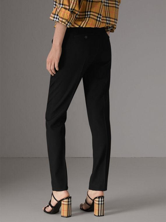 Straight-fit Wool Tailored Trousers in Black - Women | Burberry - cell image 2