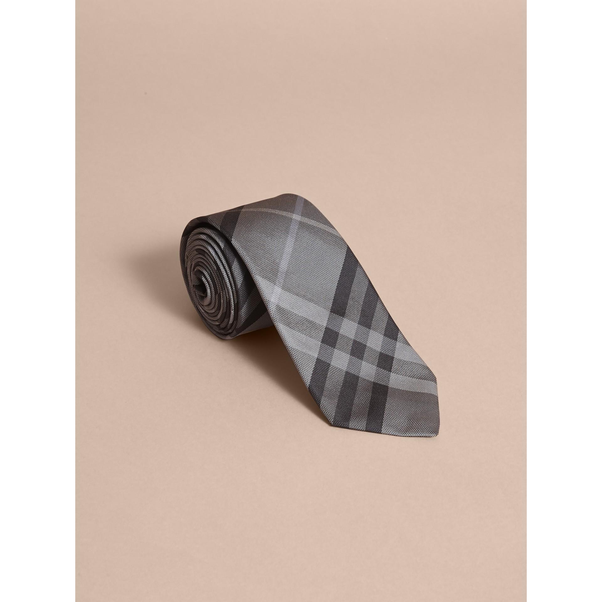 Modern Cut Check Silk Tie in Mid Grey - gallery image 1