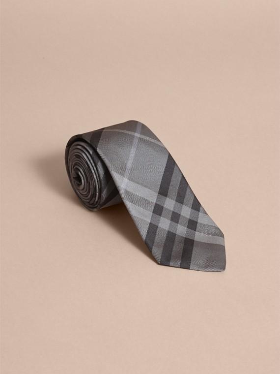 Modern Cut Check Silk Tie in Mid Grey