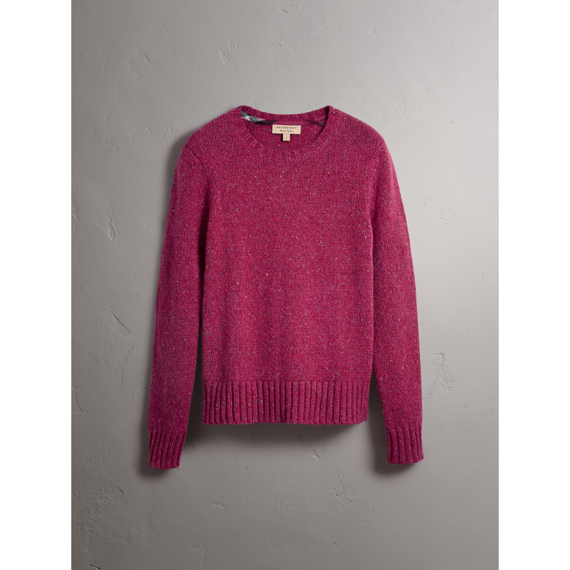 Wool Cashmere Mohair Tweed Sweater in Crimson Pink - Men | Burberry - gallery image 4