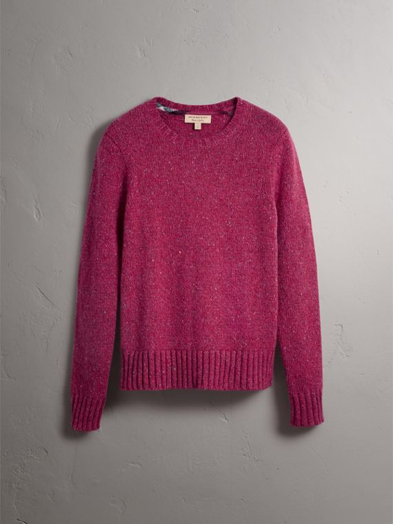 Wool Cashmere Mohair Tweed Sweater in Crimson Pink - Men | Burberry - cell image 3
