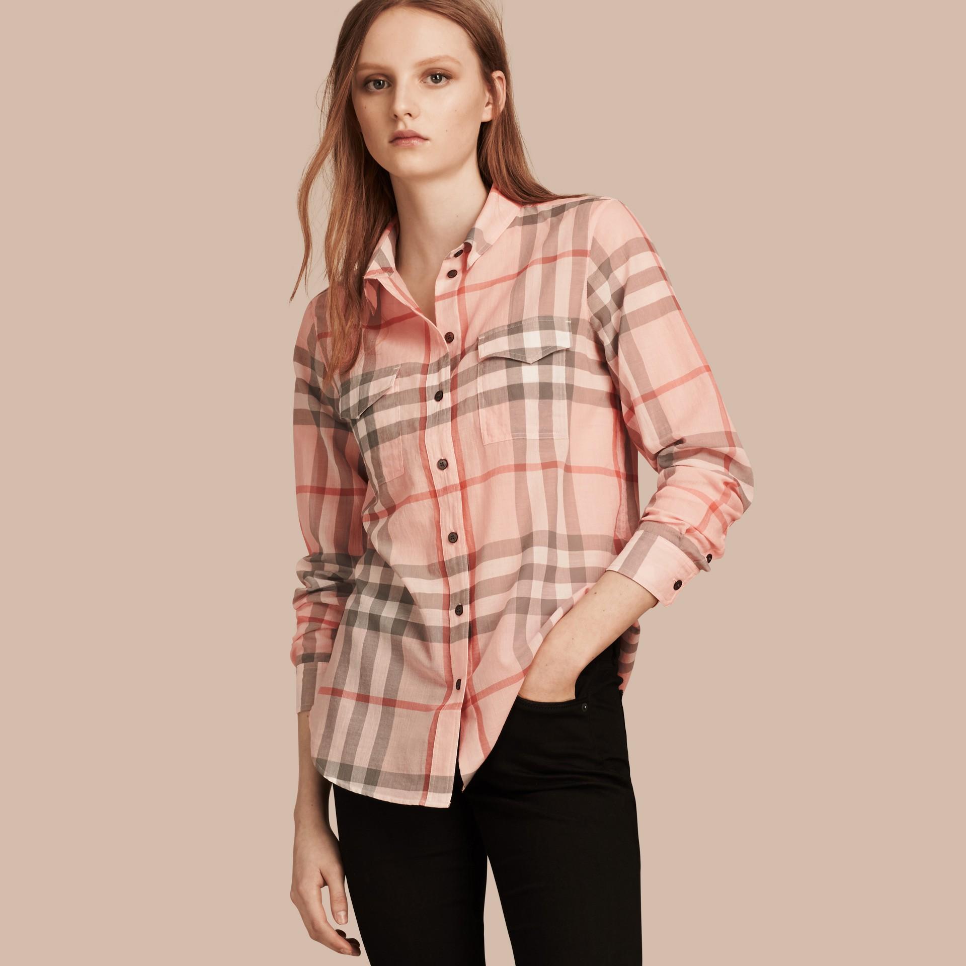Albicocca pallido Camicia in cotone con motivo check Albicocca Pallido - immagine della galleria 1