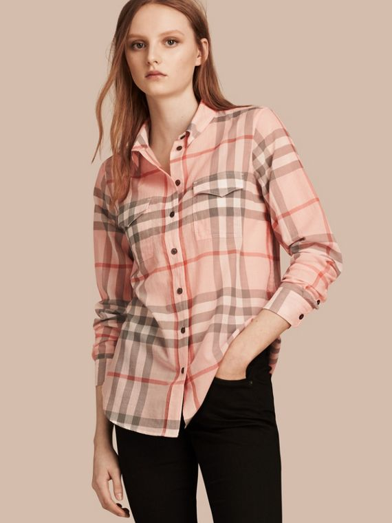 Check Cotton Shirt Pale Apricot