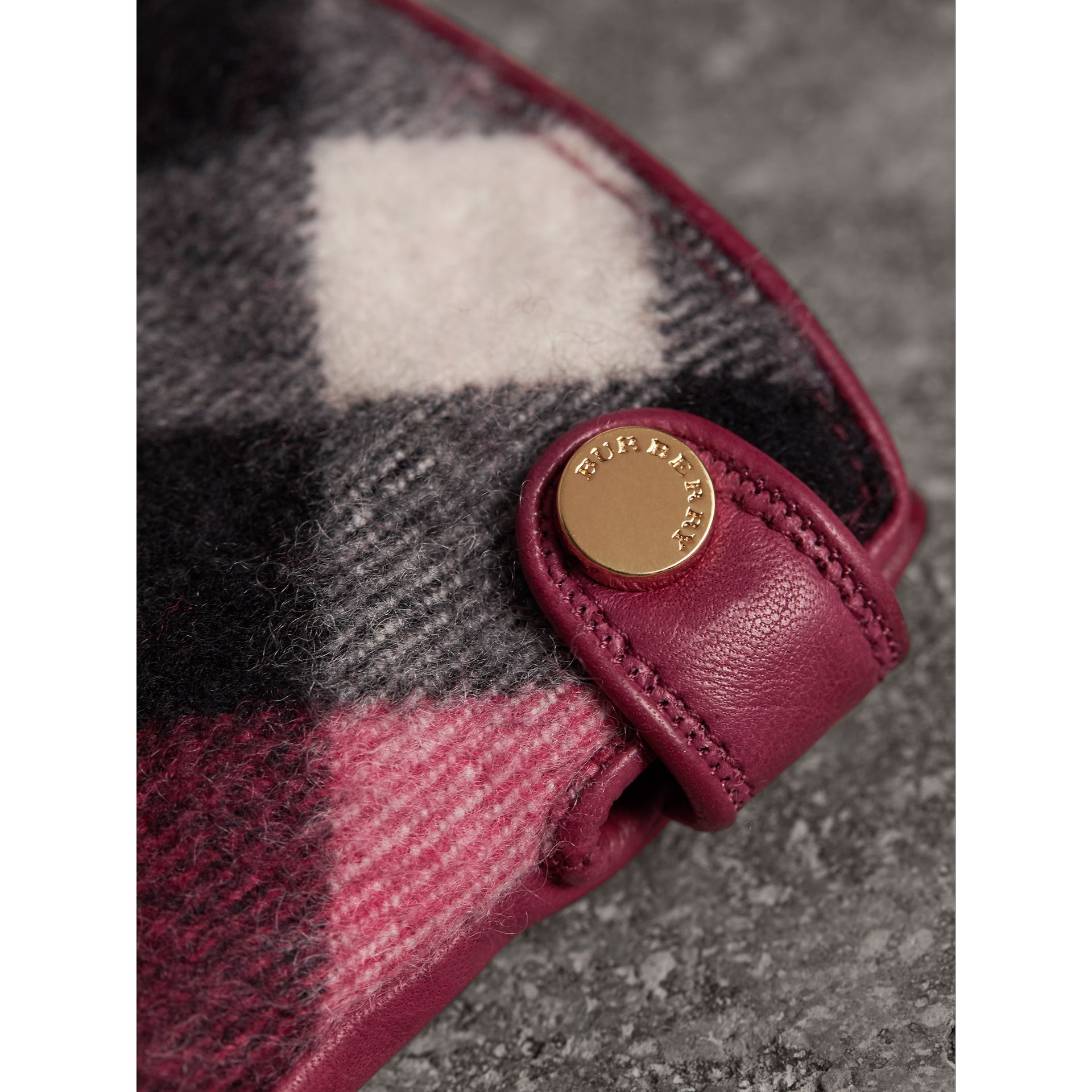 Leather and Check Cashmere Gloves in Fuchsia - Women | Burberry United States - gallery image 2