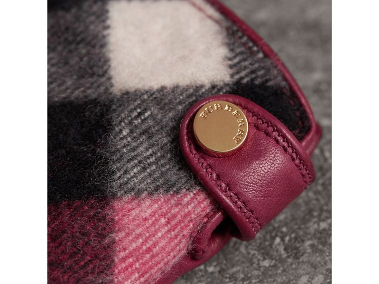 Leather and Check Cashmere Gloves in Fuchsia - Women | Burberry United States - cell image 1