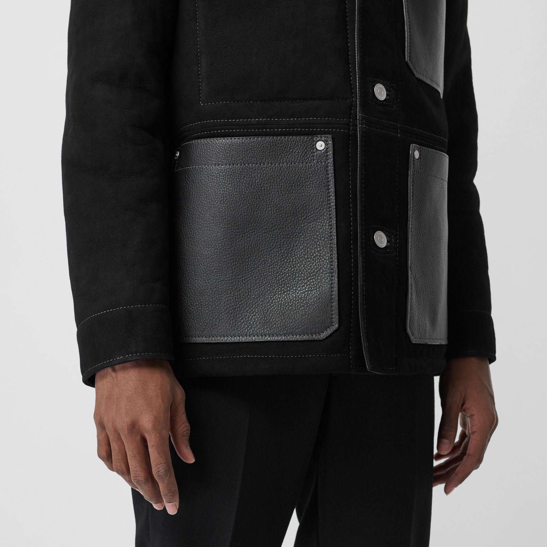 Leather Detail Shearling Workwear Jacket in Black - Men | Burberry - gallery image 4