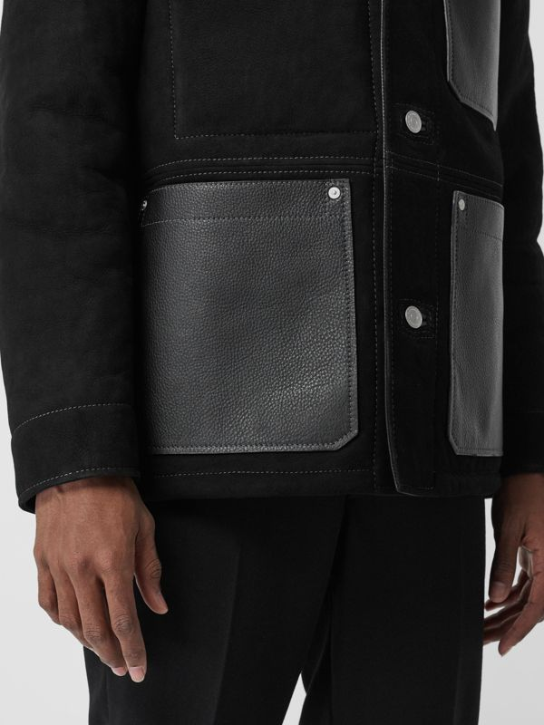 Leather Detail Shearling Workwear Jacket in Black - Men | Burberry - cell image 3