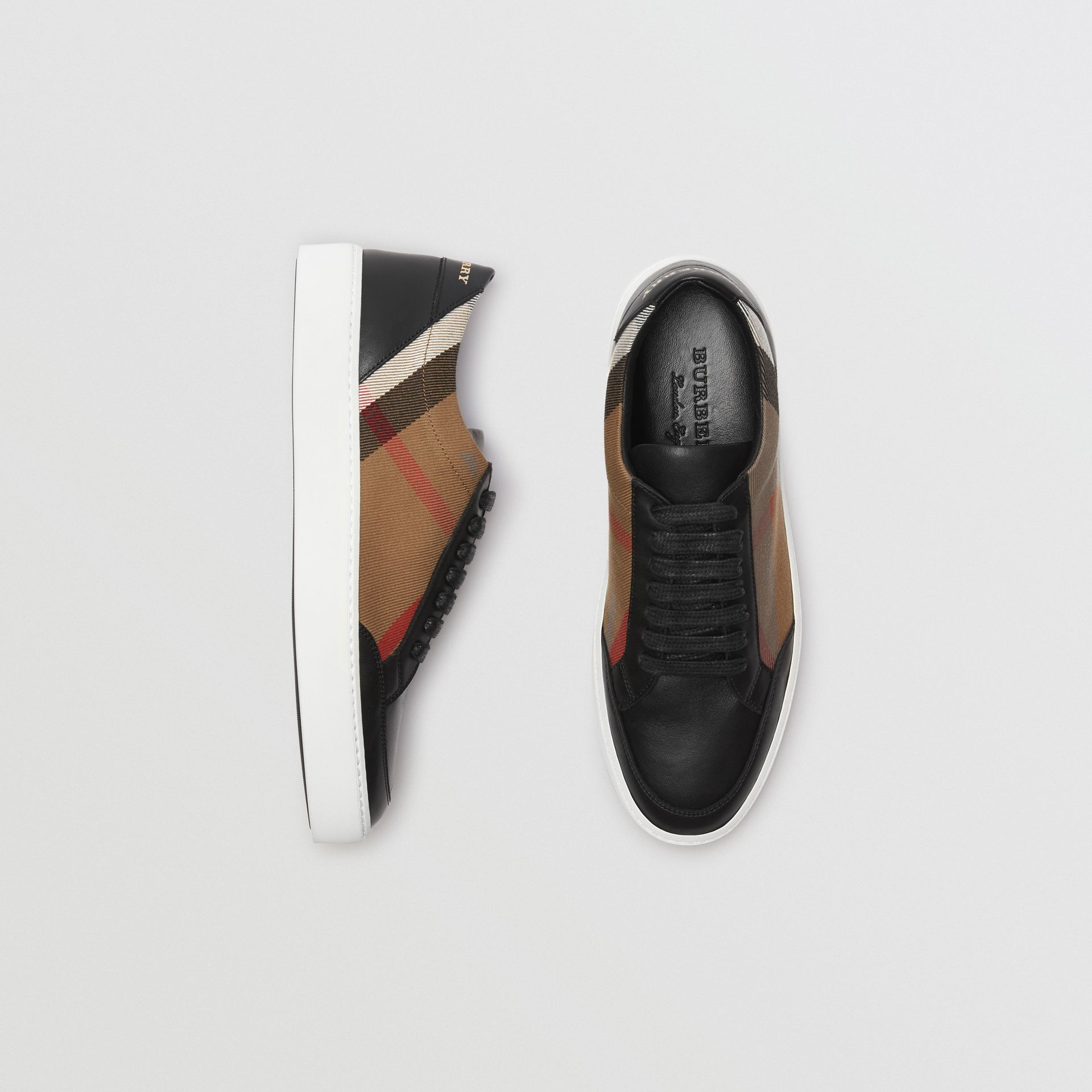 Check Detail Leather Sneakers in House Check/black - Women | Burberry - gallery image 0