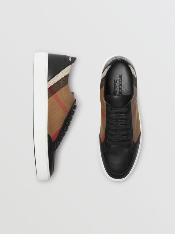 Check Detail Leather Sneakers in House Check/black