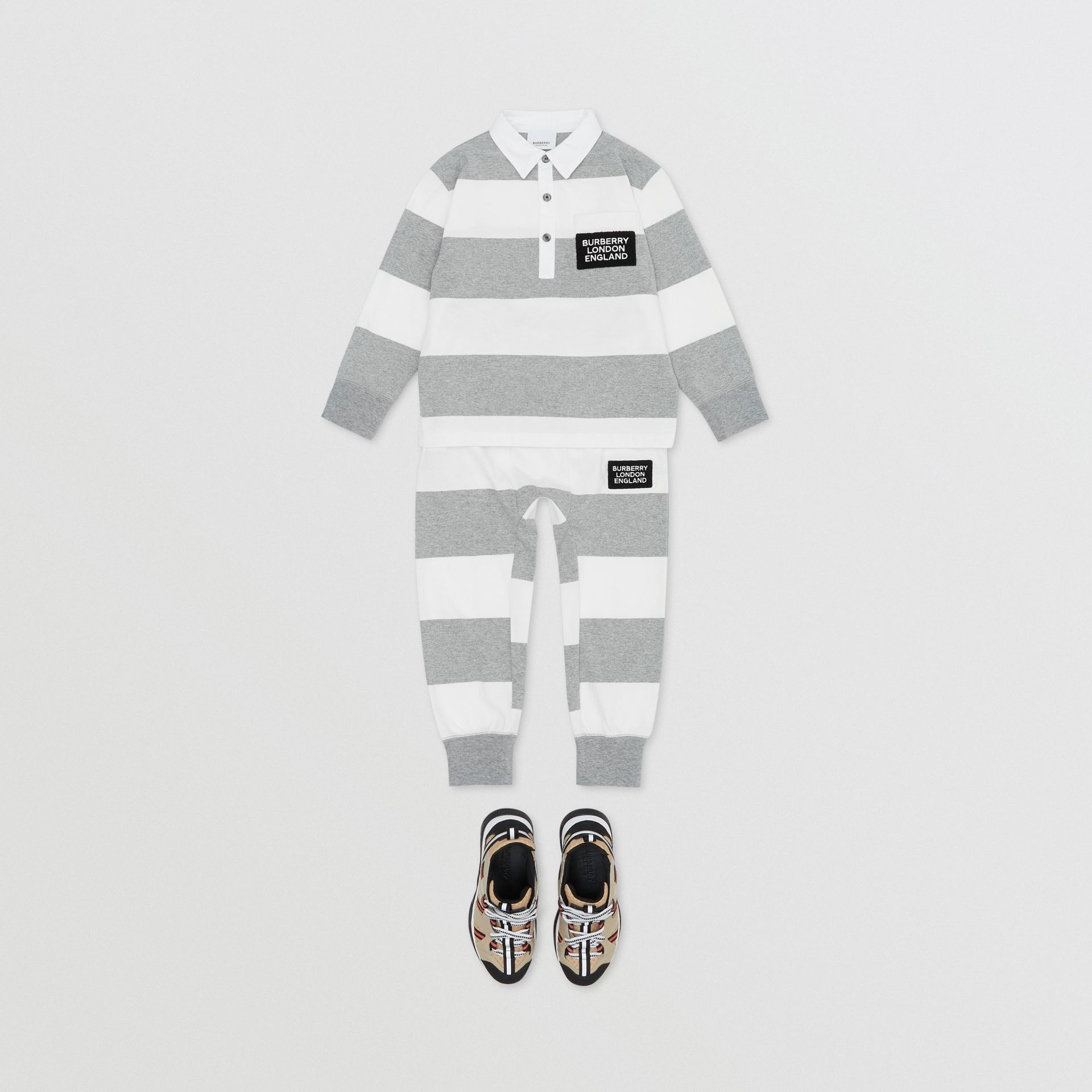 Long-sleeve Striped Cotton Polo Shirt in Grey Melange | Burberry - gallery image 2