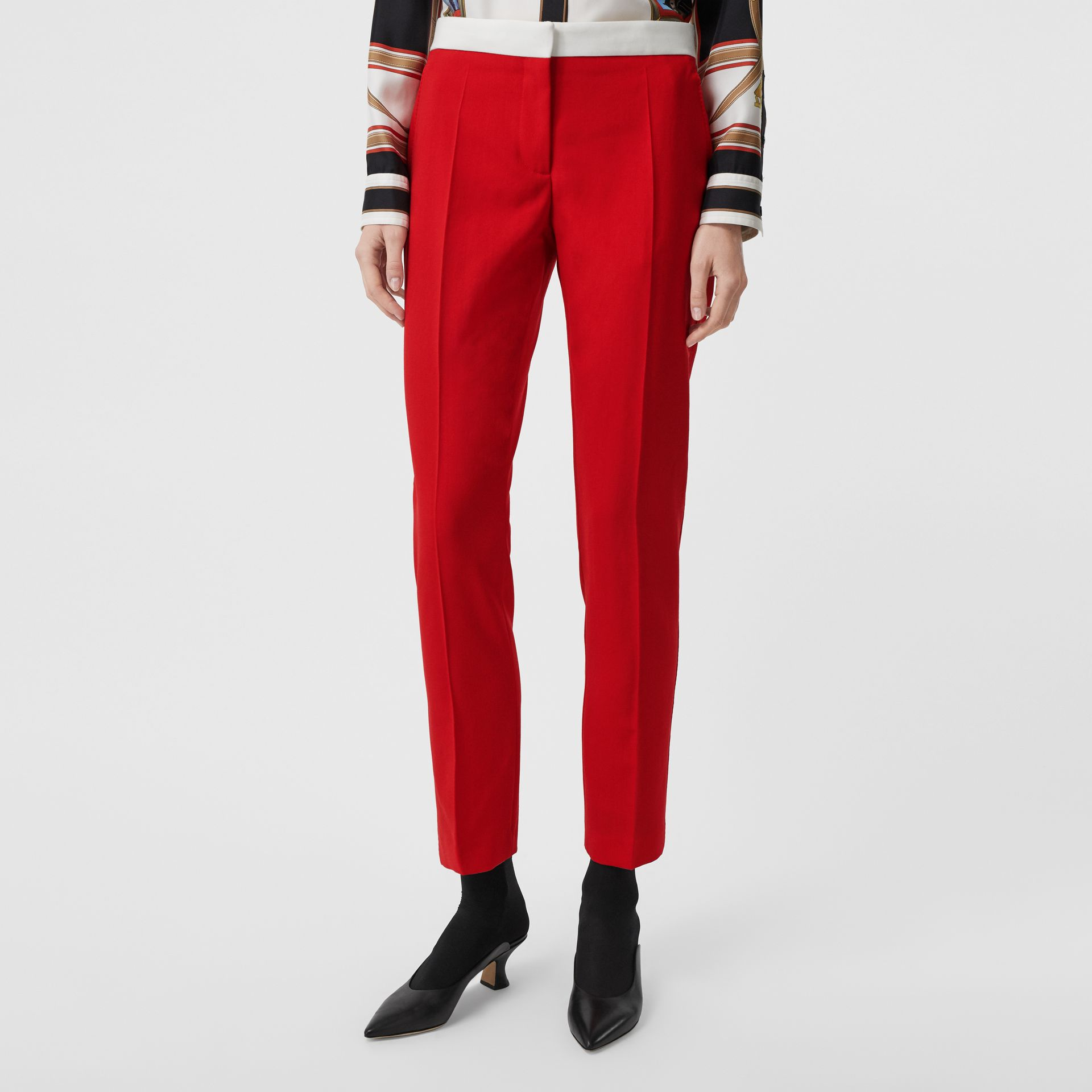 Two-tone Wool Tailored Trousers in Bright Red - Women | Burberry - gallery image 4