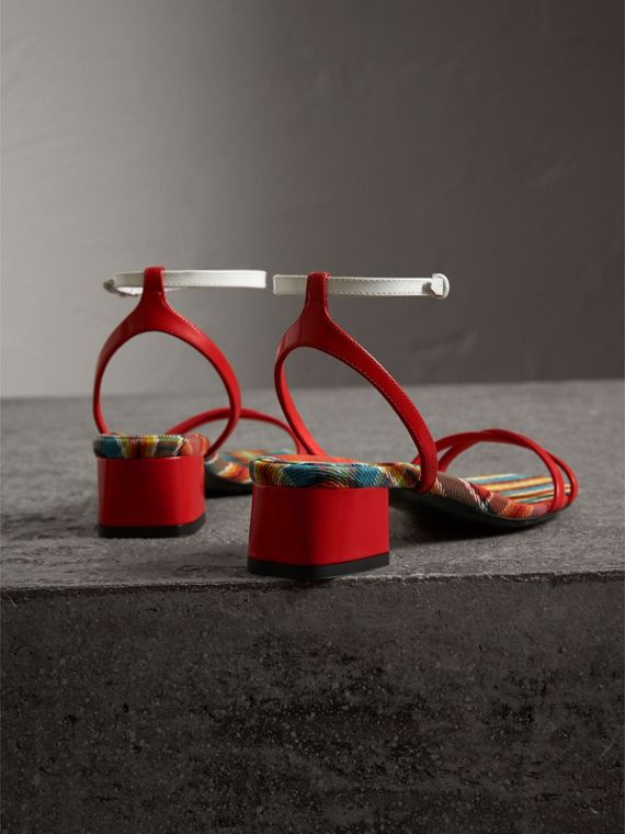 Tartan and Patent Leather Block-heel Sandals in Orange Red - Women | Burberry United Kingdom - cell image 3