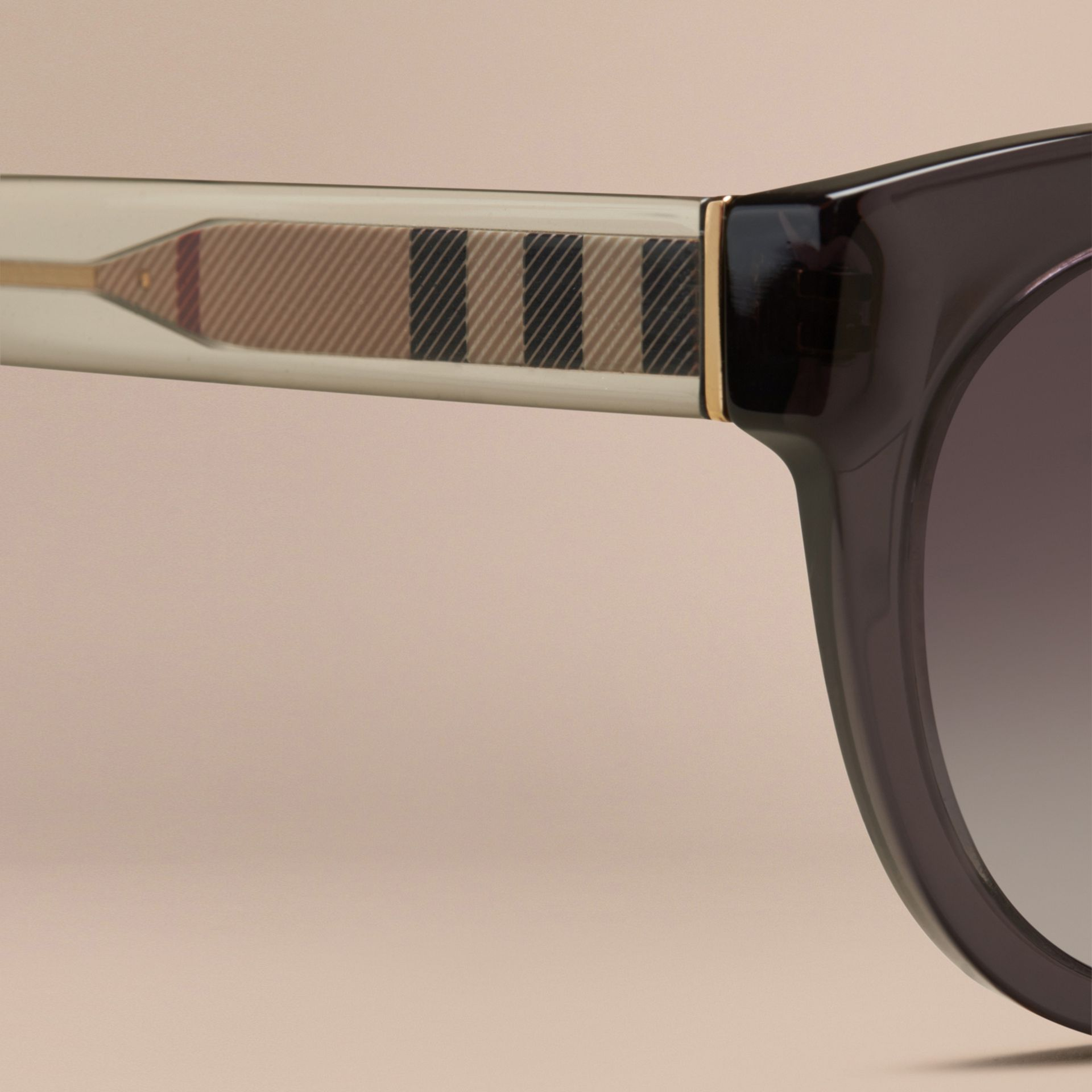 Dark grey Check Detail Oval Sunglasses Dark Grey - gallery image 2