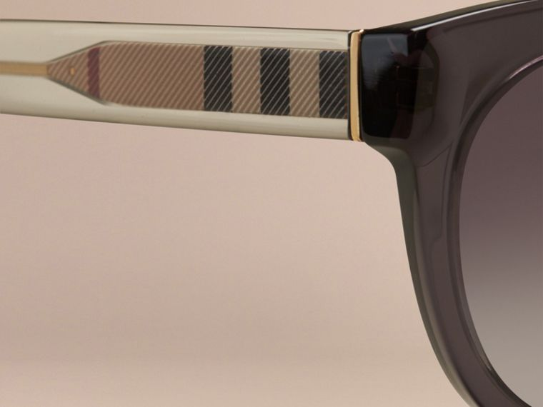 Dark grey Check Detail Oval Sunglasses Dark Grey - cell image 1
