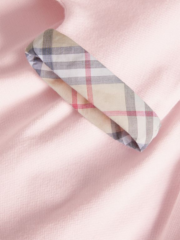 Short-sleeved Cotton Piqué Dress with Check Detail in Powder Pink   Burberry - cell image 1