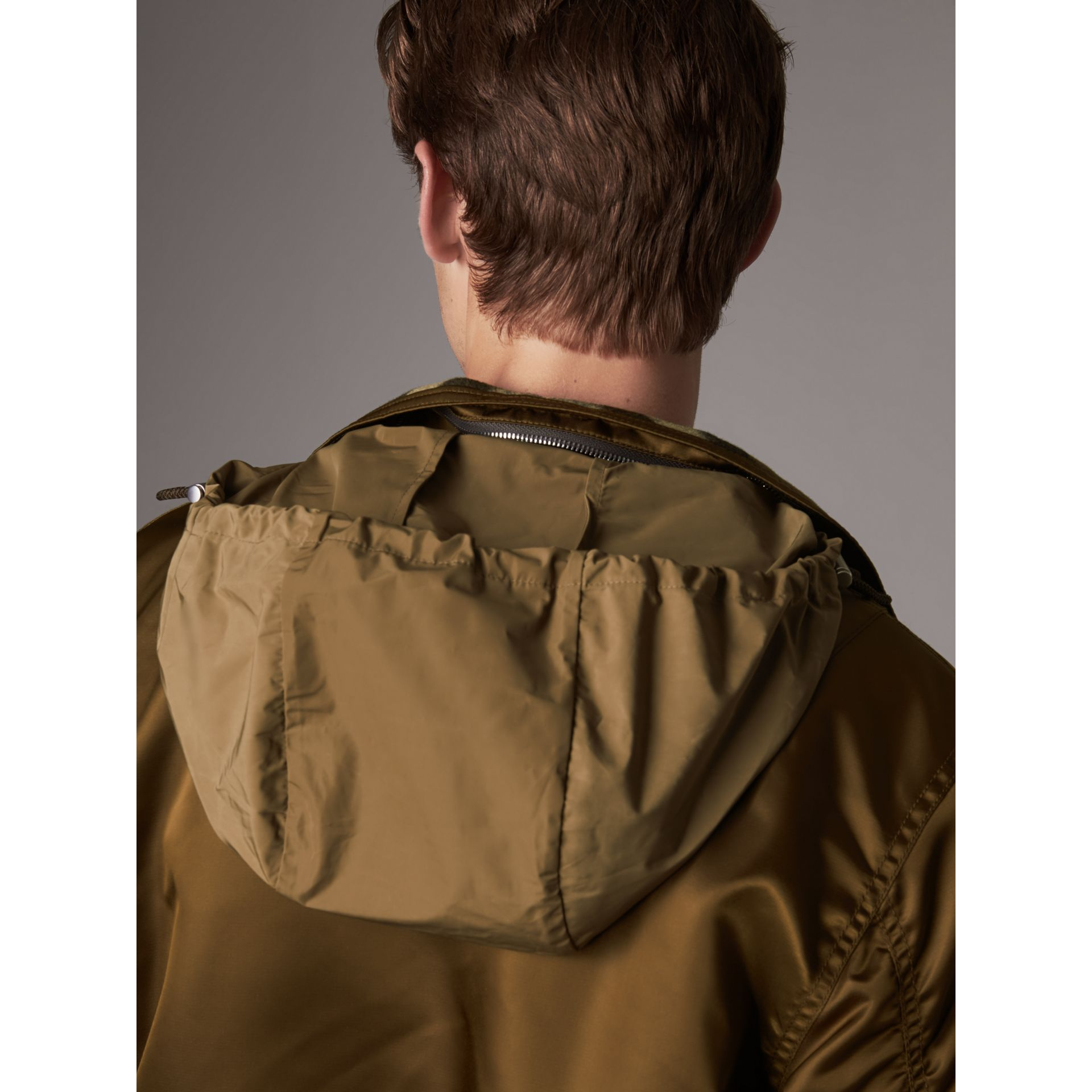 Nylon Bomber Jacket with Packaway Hood in Khaki Brown - Men | Burberry - gallery image 5