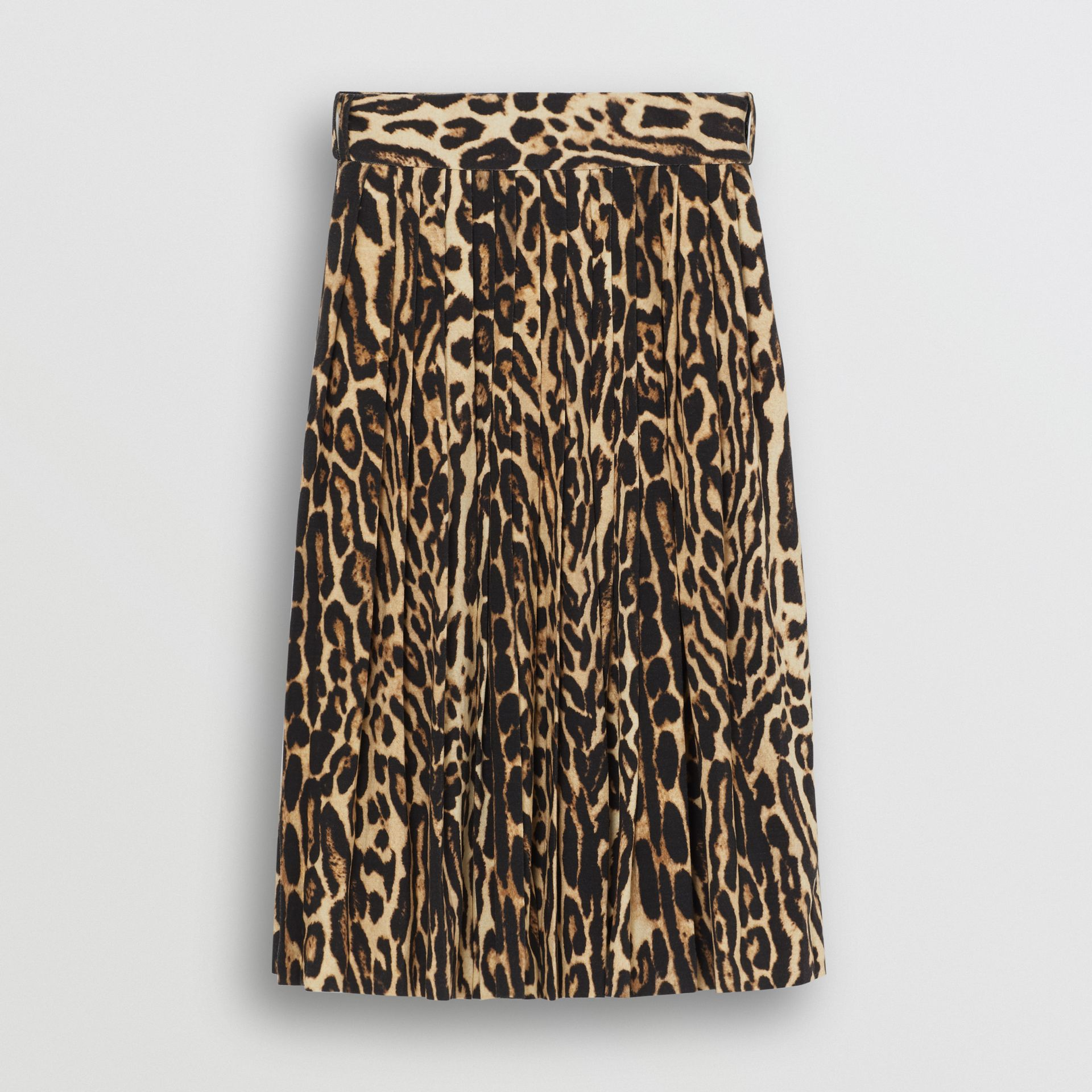 Leopard Print Stretch Silk Pleated Skirt in Camel - Women | Burberry - gallery image 3