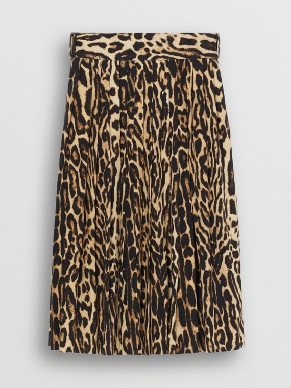 Leopard Print Stretch Silk Pleated Skirt in Camel