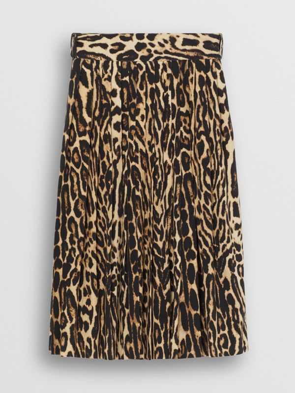 Leopard Print Stretch Silk Pleated Skirt in Camel - Women | Burberry - cell image 3