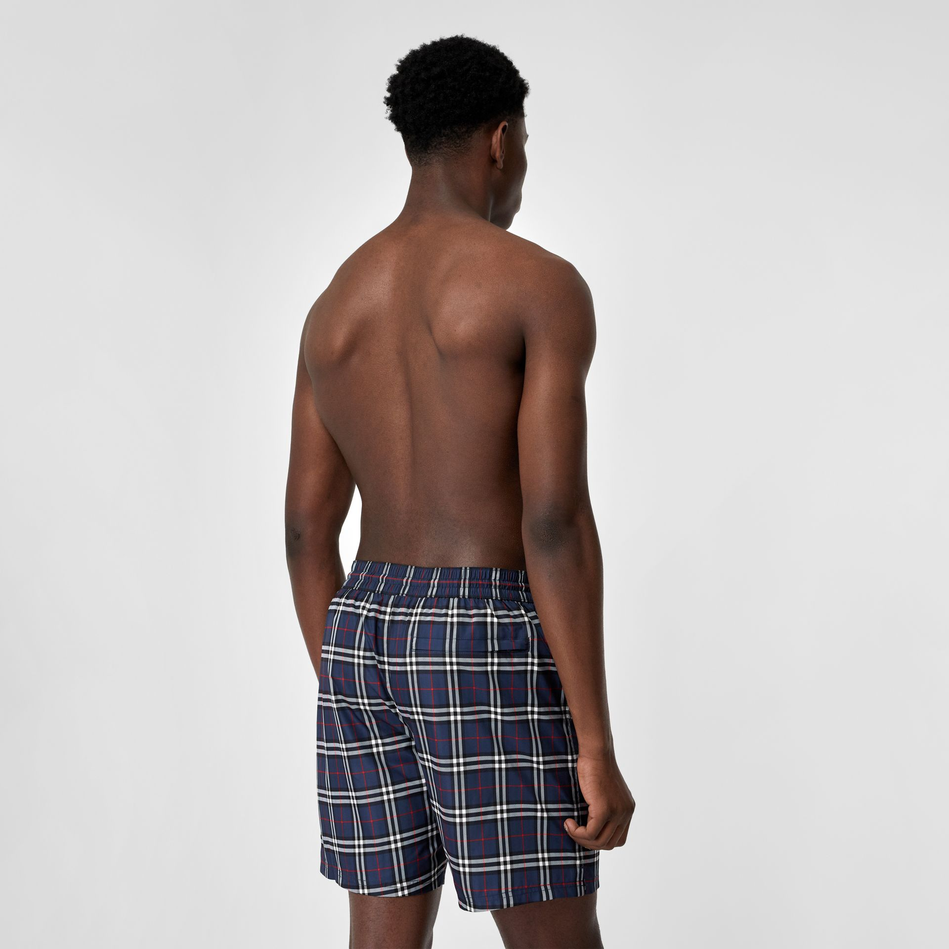 Check Drawcord Swim Shorts in Carbon Blue - Men | Burberry - gallery image 1