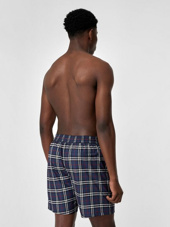 Check Drawcord Swim Shorts in Carbon Blue - Men | Burberry Canada - cell image 1