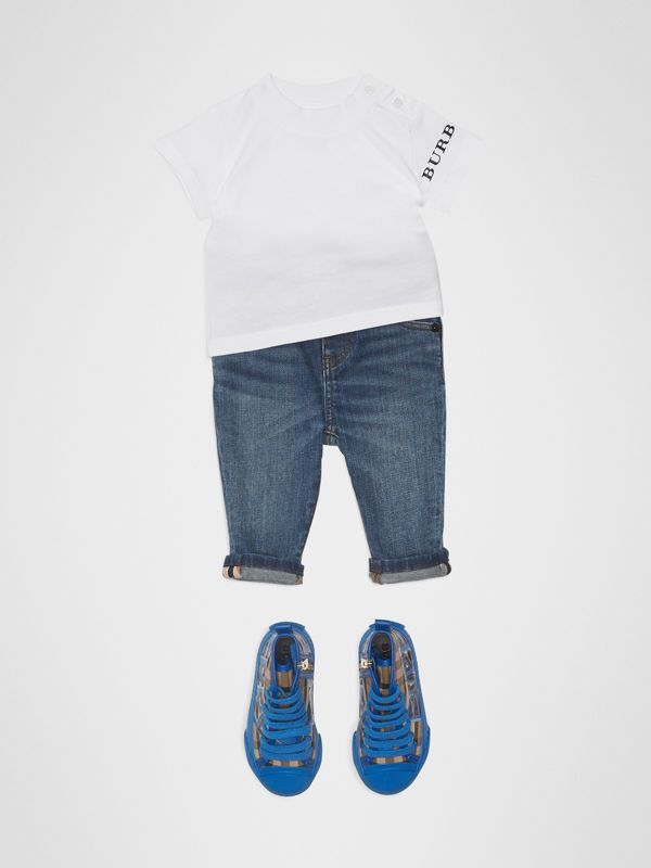 Logo Print Cotton T-shirt in White - Children | Burberry Hong Kong - cell image 2