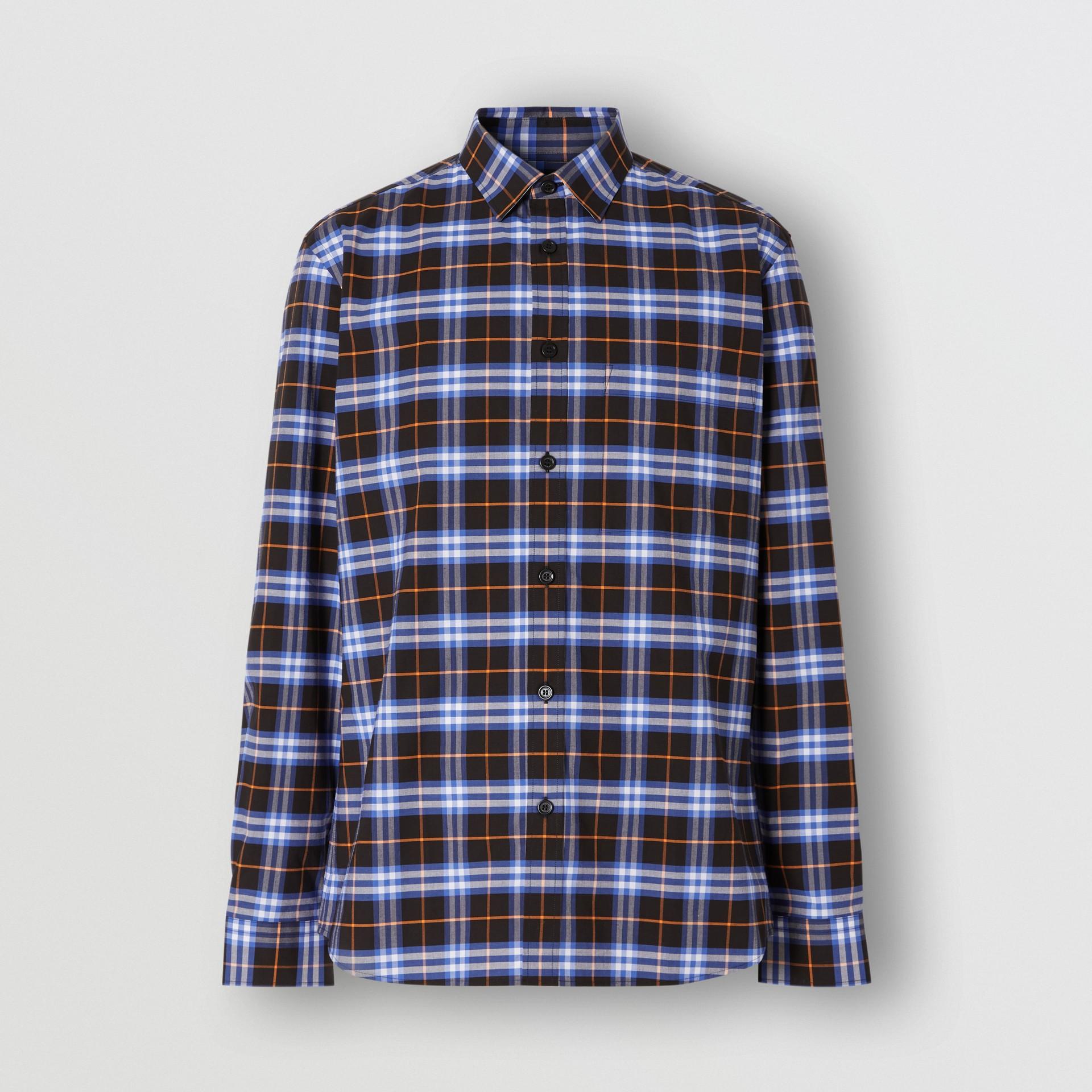 Small Scale Check Stretch Cotton Shirt in Melon - Men   Burberry Australia - gallery image 3