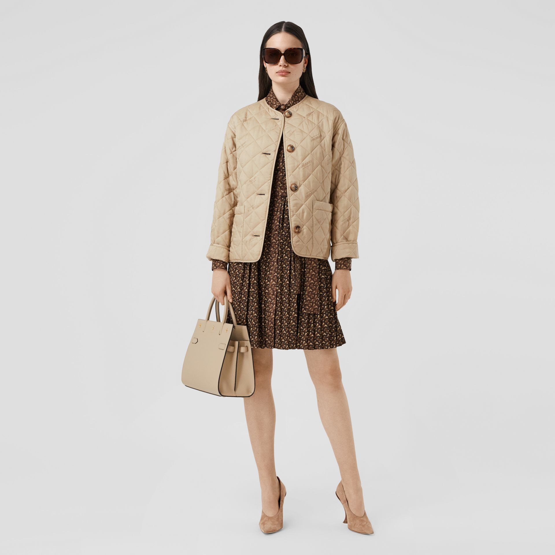 Small Leather Two-handle Title Bag in Light Beige - Women | Burberry - gallery image 5