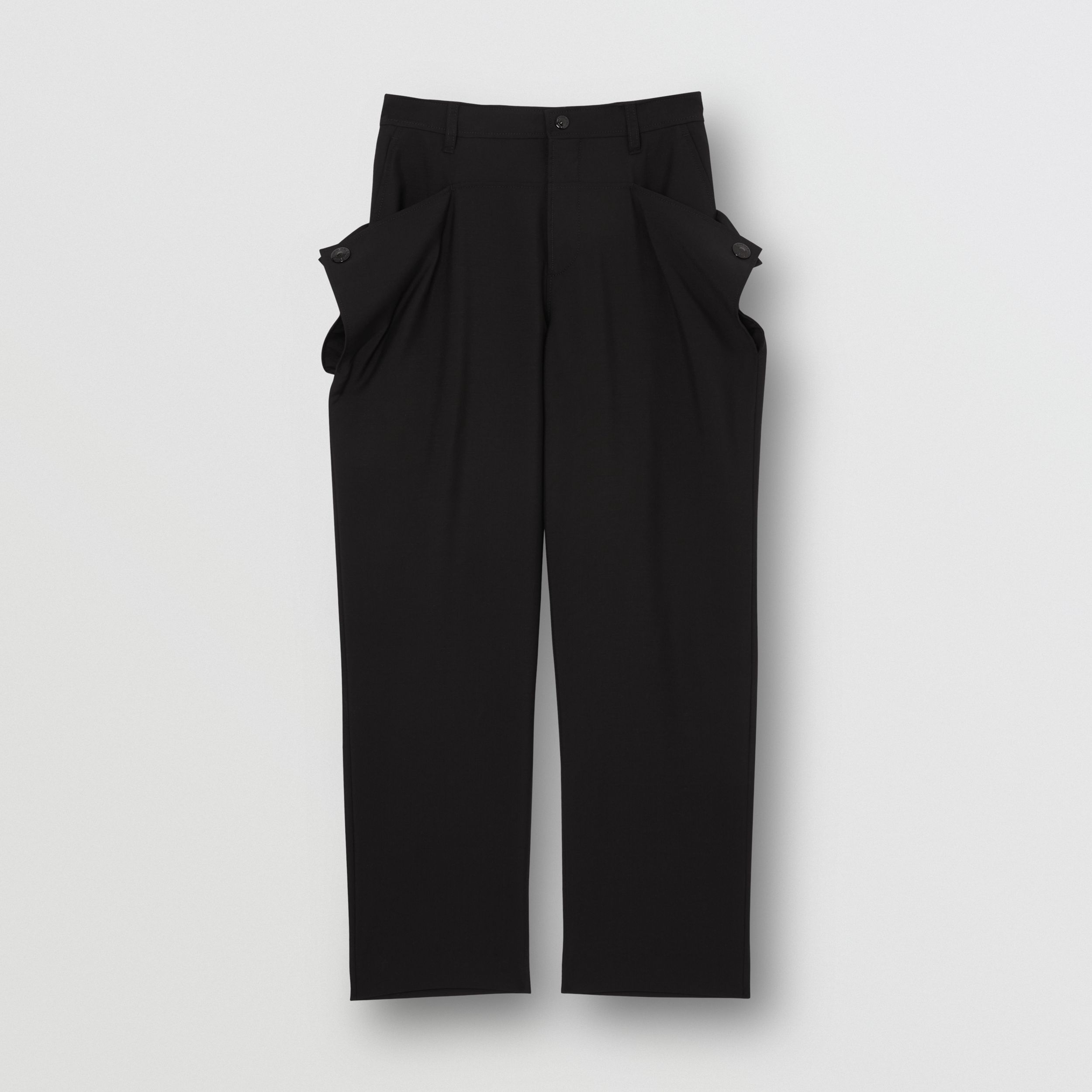 Press-stud Detail Mohair Wool Tailored Trousers in Black - Men | Burberry - 4