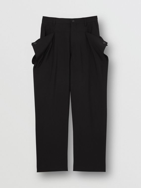 Press-stud Detail Mohair Wool Tailored Trousers in Black