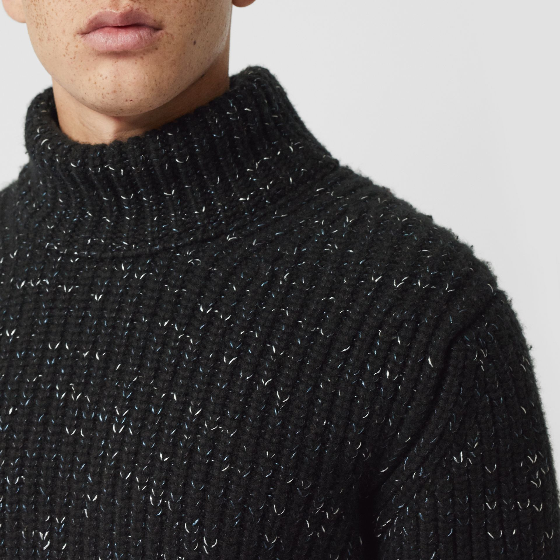 Contrast Knit Wool Cashmere Blend Sweater in Black - Men | Burberry United States - gallery image 1