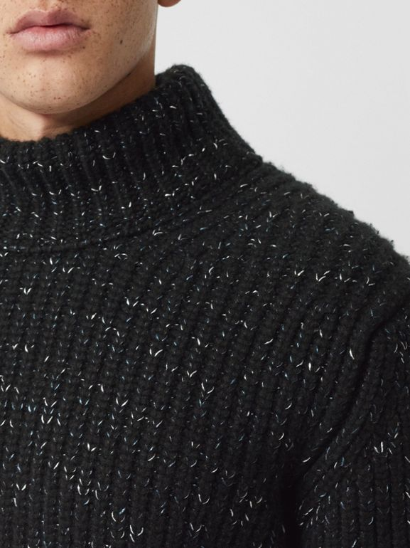 Contrast Knit Wool Cashmere Blend Sweater in Black - Men | Burberry - cell image 1