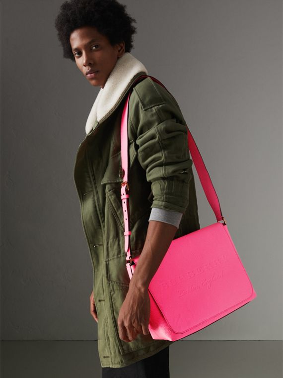 Medium Embossed Leather Messenger Bag in Neon Pink | Burberry - cell image 3