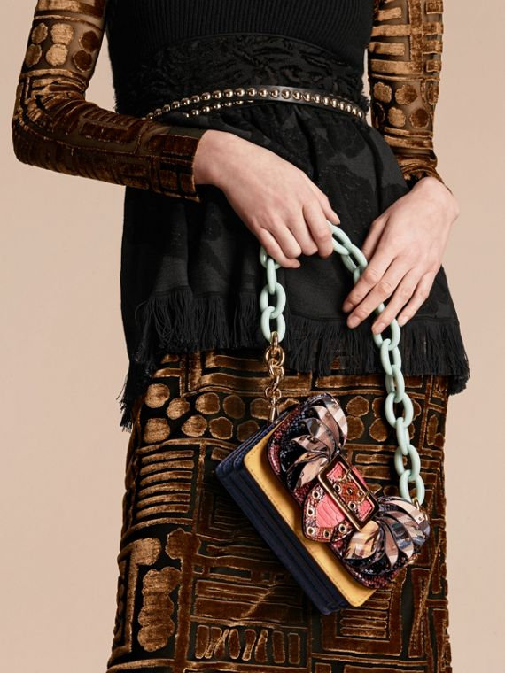 The Ruffle Buckle Bag in Snakeskin, Calfskin and Check - cell image 2