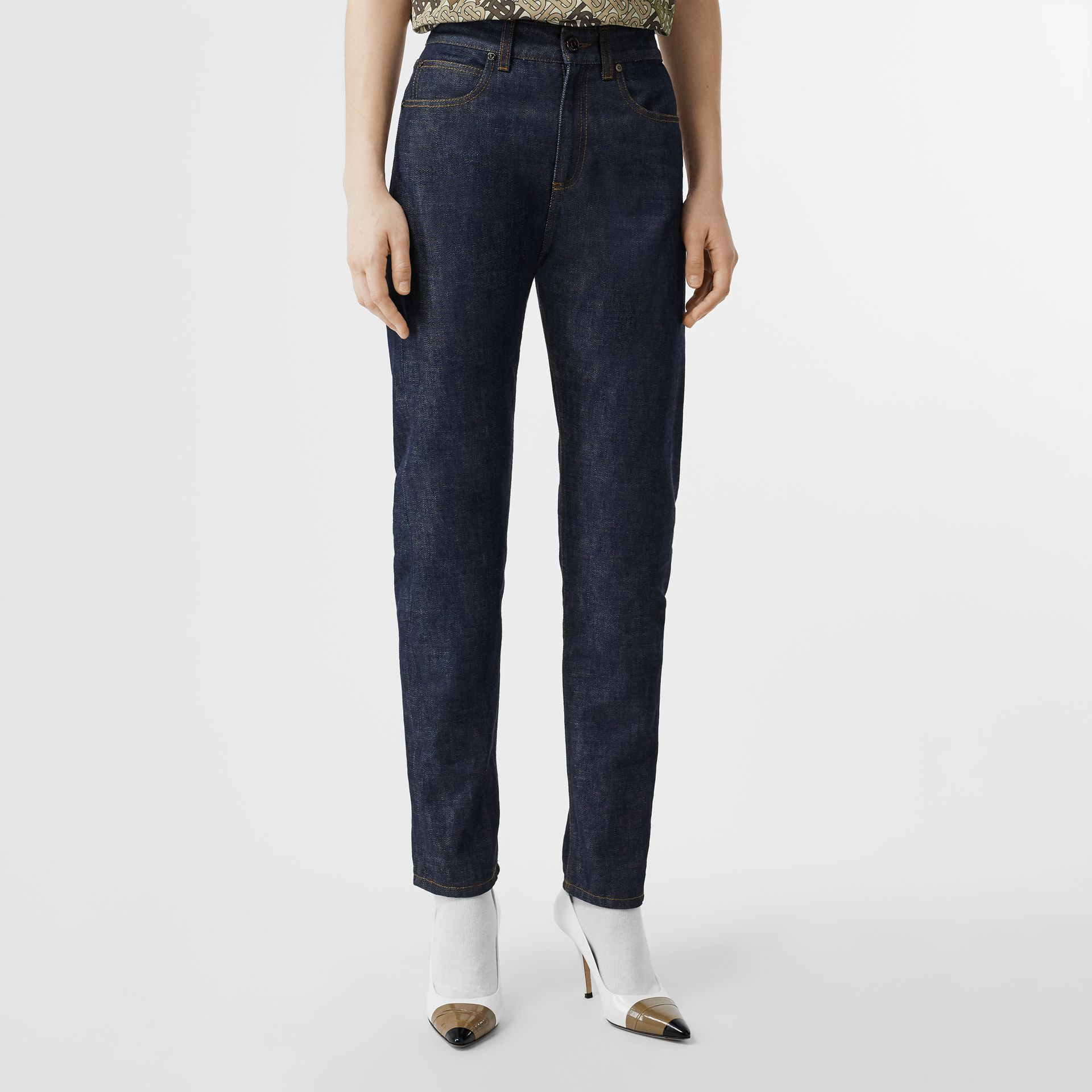Straight Fit Japanese Selvedge Denim Jeans in Indigo - Women | Burberry - gallery image 0