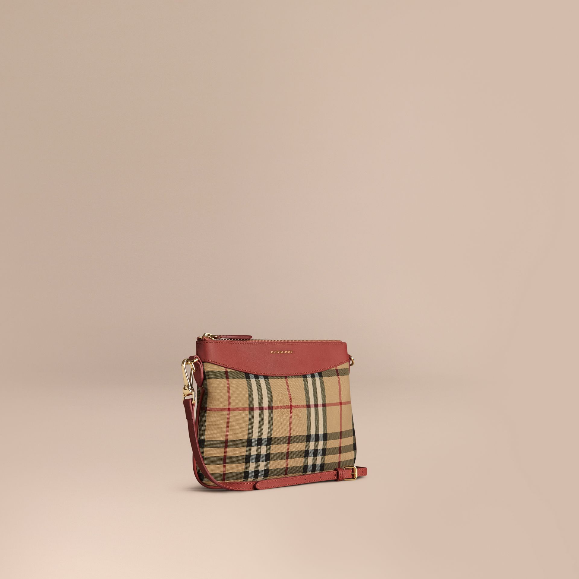 Horseferry Check and Leather Clutch Bag Antique Rose - gallery image 1