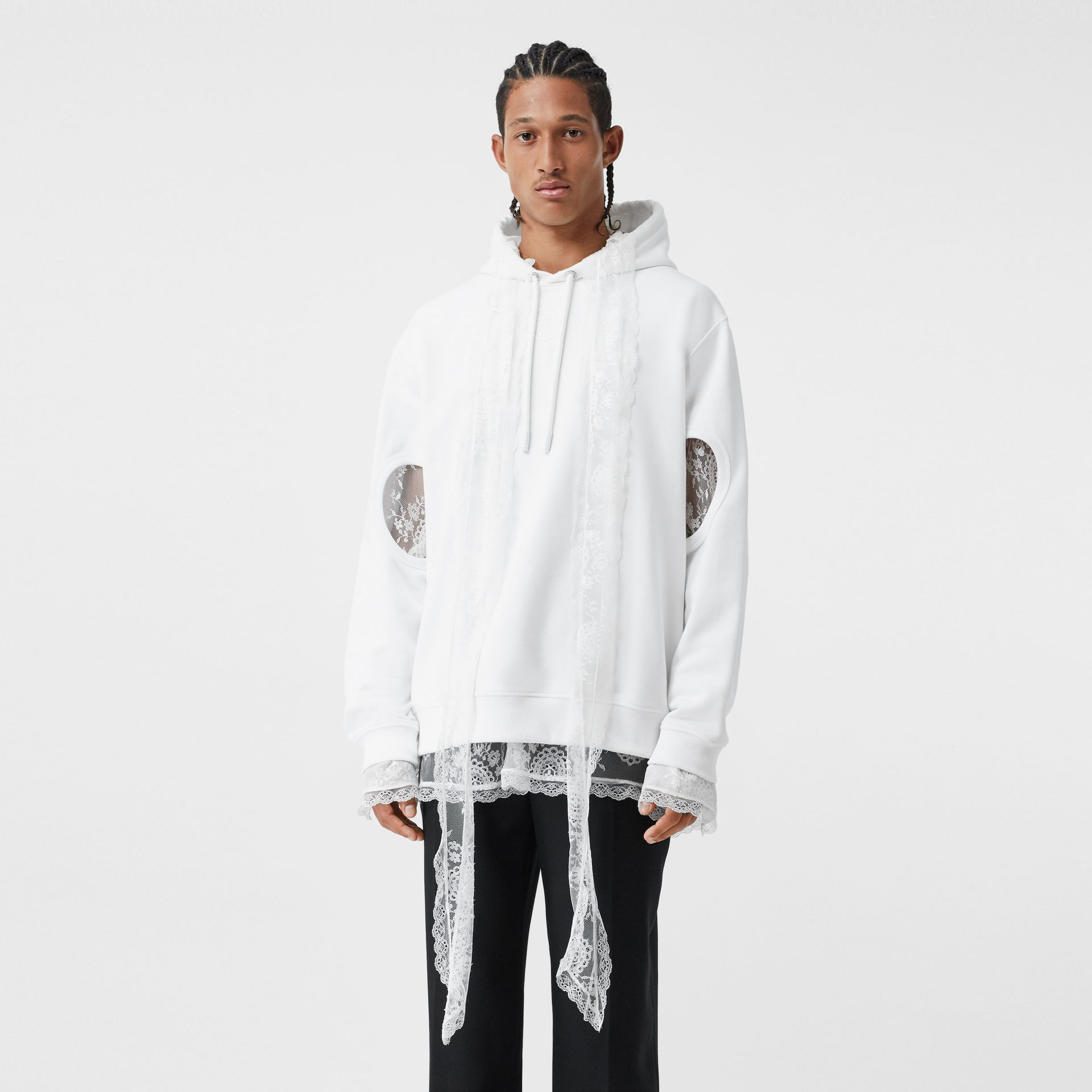 Cut-out Sleeve Globe Graphic Cotton Hoodie in Optic White | Burberry United Kingdom - gallery image 0