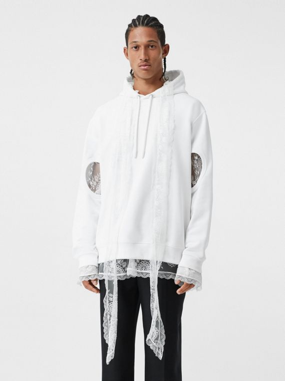 Cut-out Sleeve Globe Graphic Cotton Hoodie in Optic White