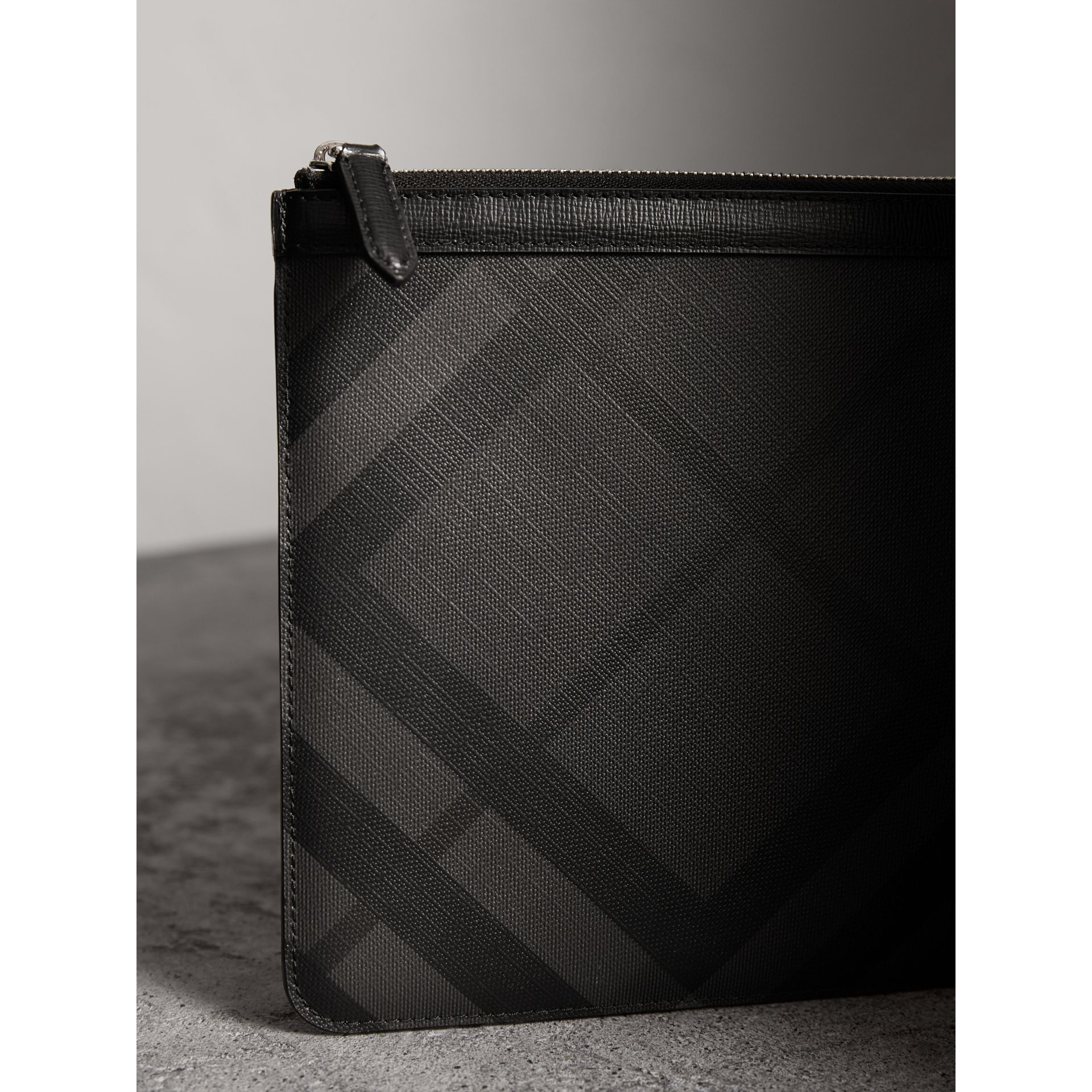 Zipped London Check Pouch in Charcoal/black - Men | Burberry - gallery image 2