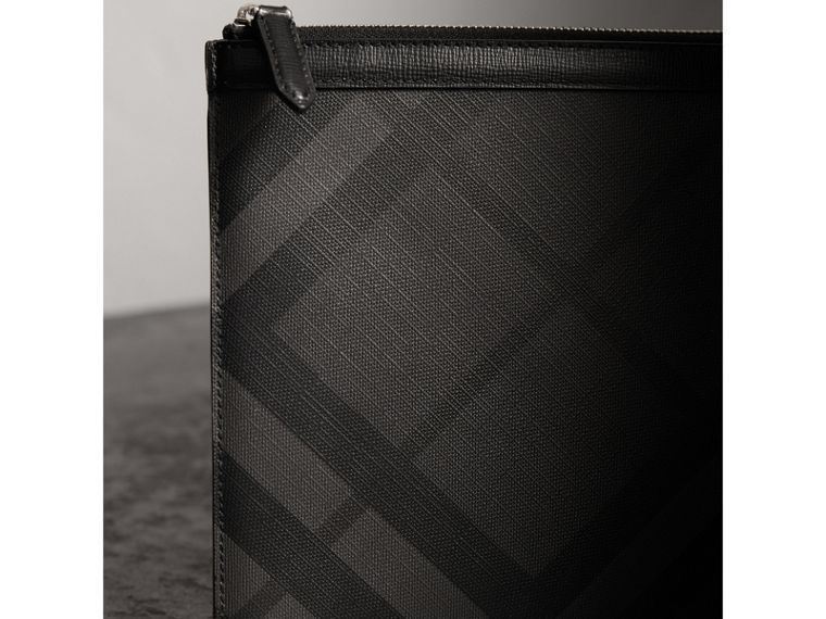 Zipped London Check Pouch in Charcoal/black - Men | Burberry - cell image 1
