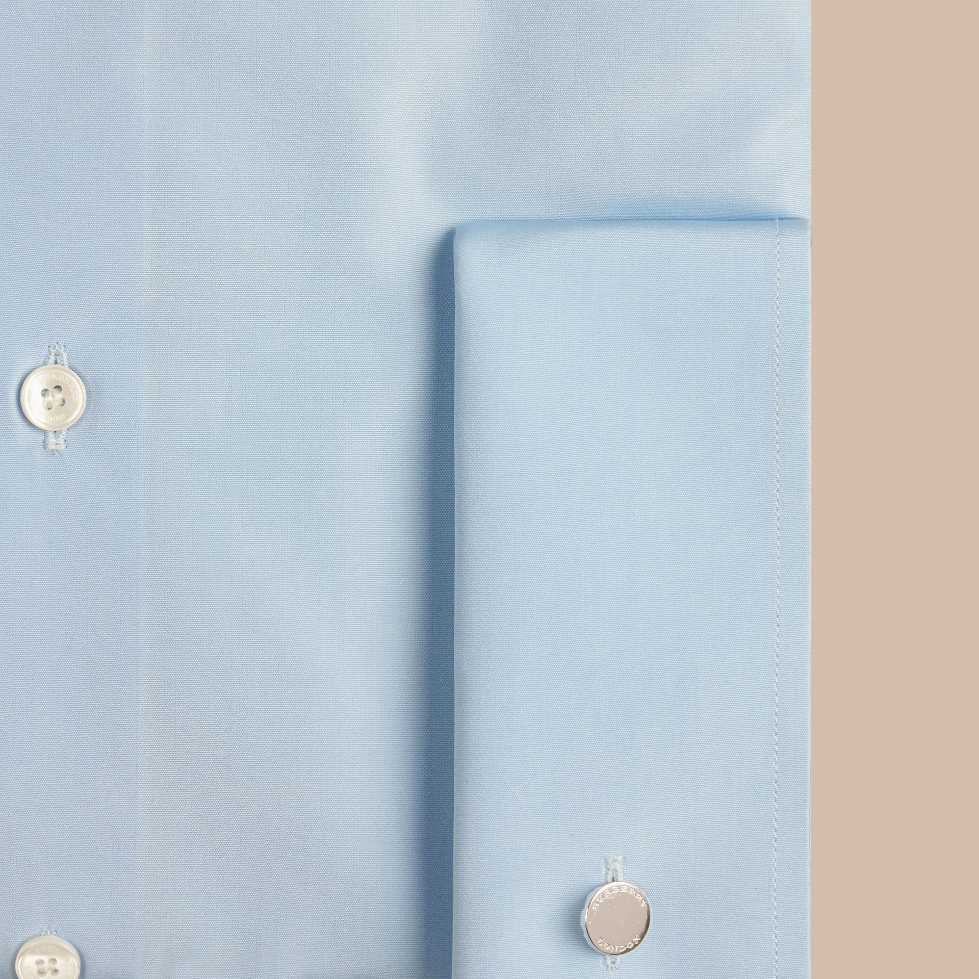 City blue Slim Fit Double Cuff Cotton Poplin Shirt - gallery image 2