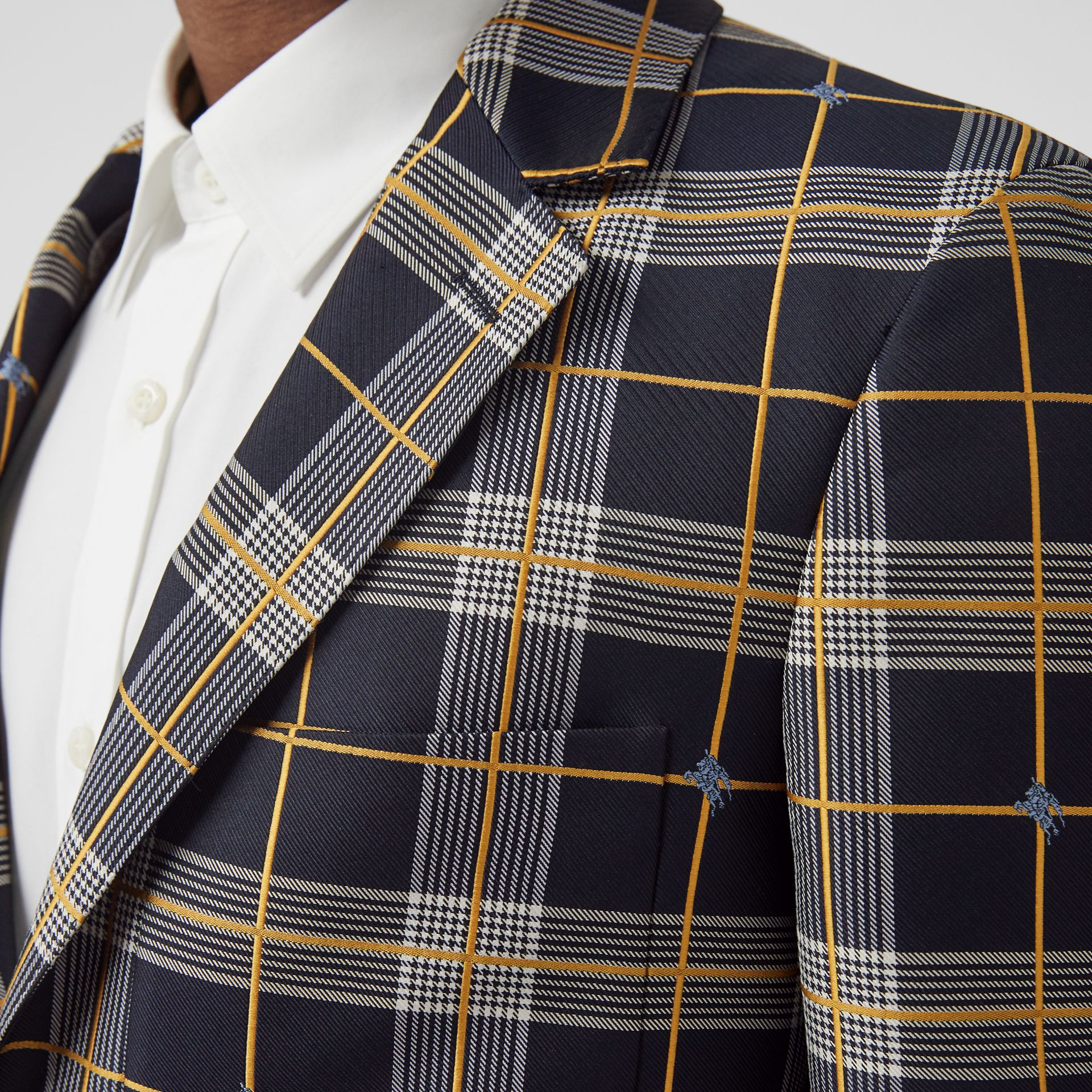 Slim Fit Equestrian Knight Check Tailored Jacket in Navy - Men | Burberry - gallery image 1