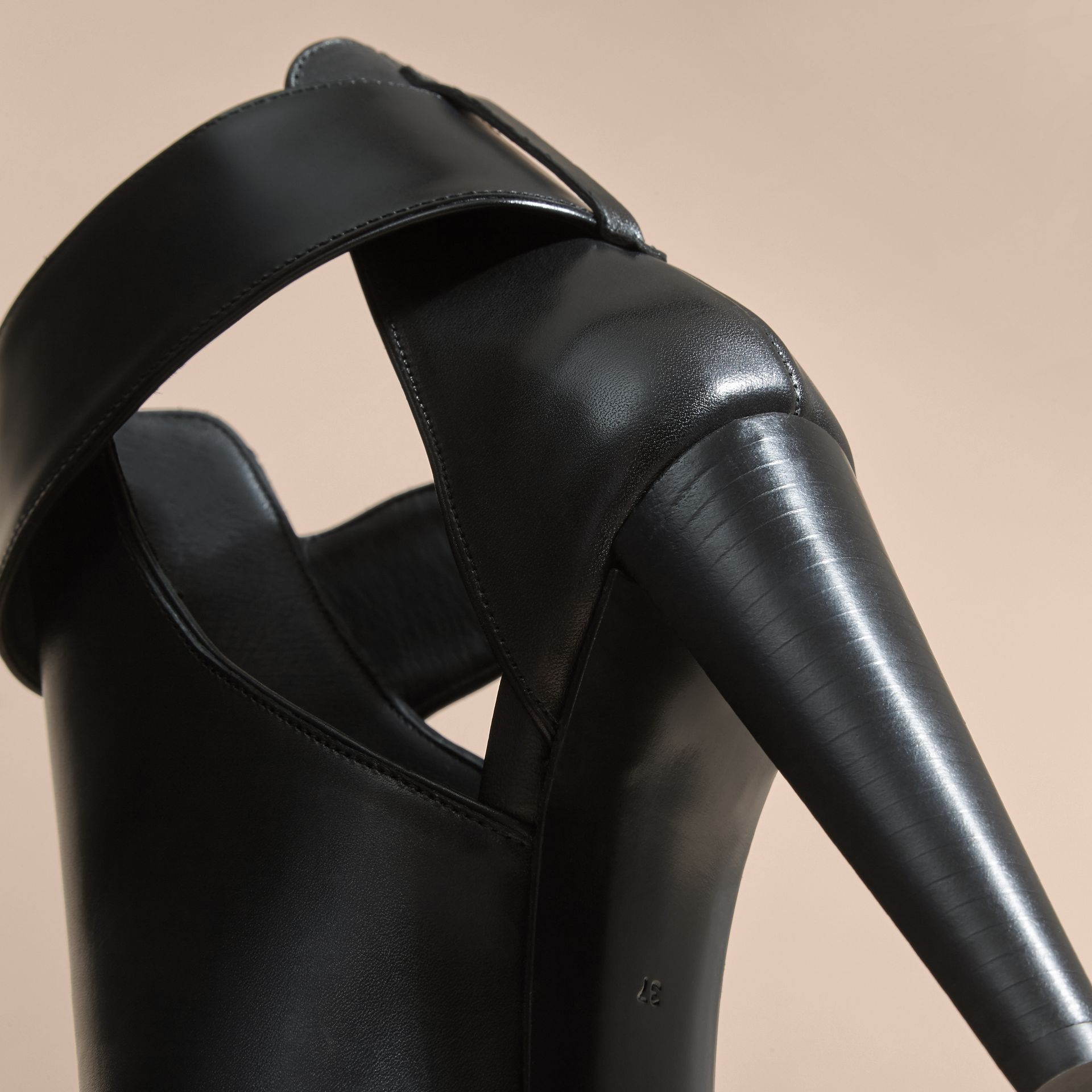 Black Buckle Detail Peep-toe Platform Ankle Boots - gallery image 5
